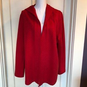 J.Jill Jacket Hoodie Textured Open Front Red